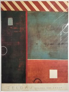 "Abstract print with red and white stripes at top, black left section, green upper right section, and red lower right section. Artist name and art group ""Deljou"" at bottom."