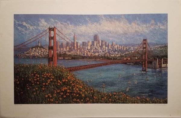 View from a hill in Marin with poppies onto the Golden Gate Bridge below and the city beyond.
