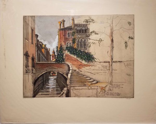 A small bridge leads over canal on left side of picture, while right side is left rough as sketch without colors.