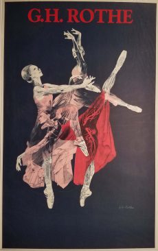 Semi-anatomical captured ballet dancers in pink and red dresses. Black background and G.H. Rothe printed in deep red at the top and small signature toward lower right.