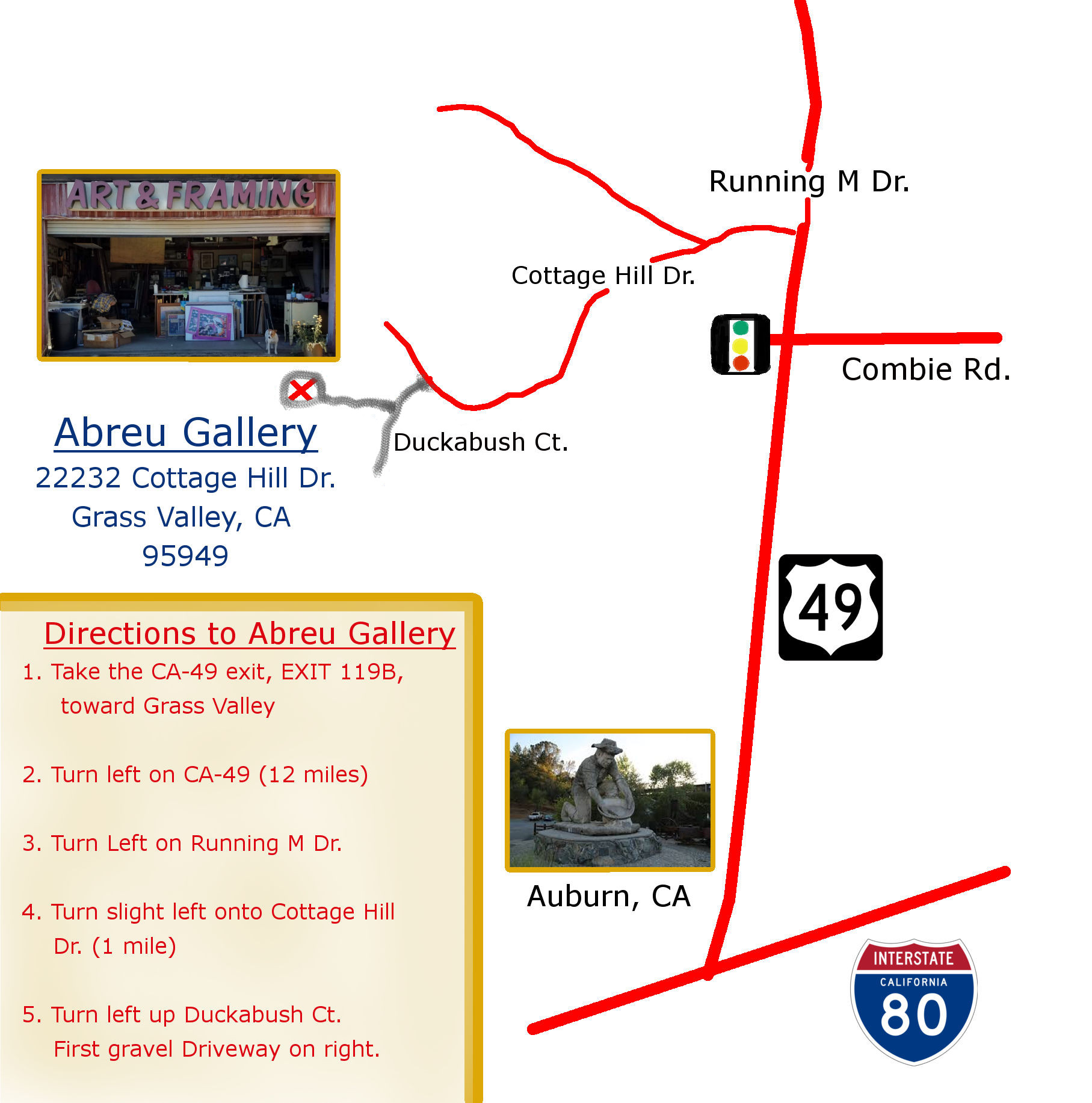 Handmade map for directions to Abreu Gallery